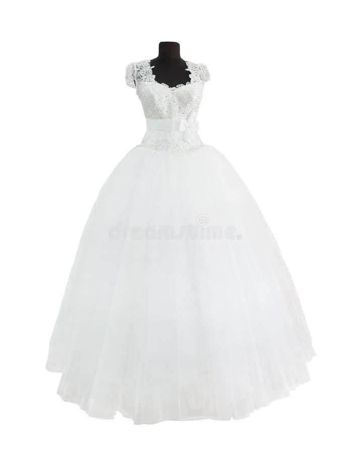 Biel suknia odizolowywająca na bielu obraz royalty free