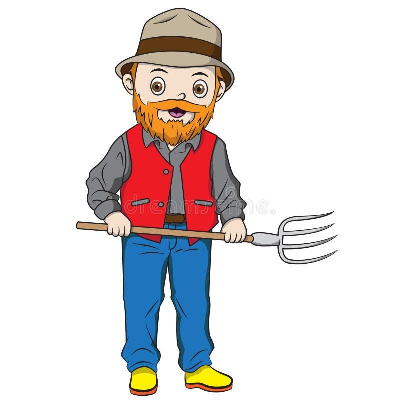 Bieldo de la tenencia de la historieta del granjero libre illustration