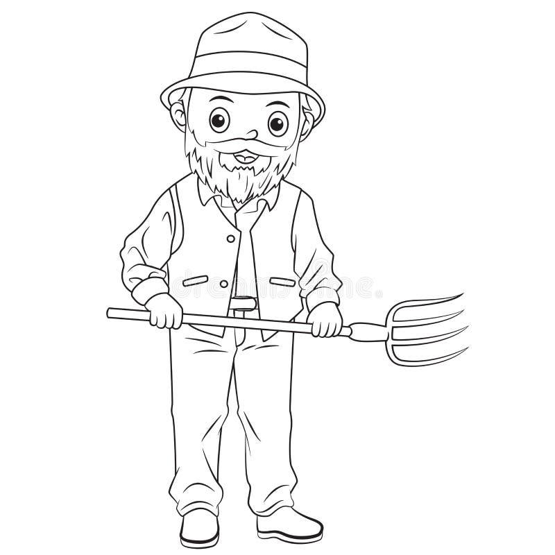 Bieldo de la tenencia de la historieta del granjero stock de ilustración