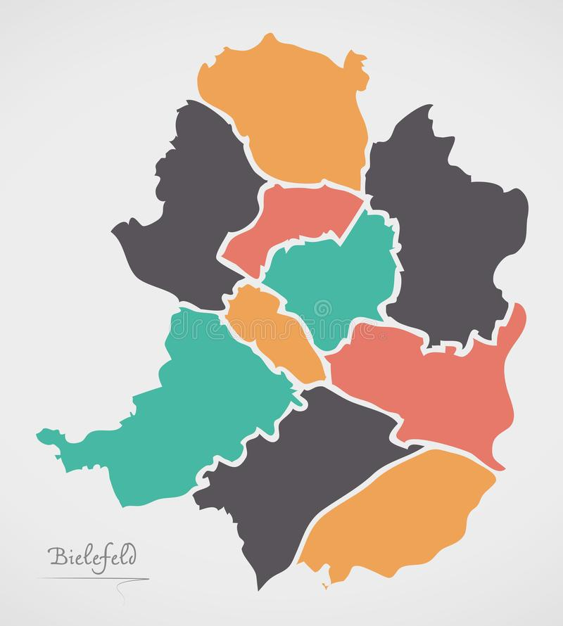 Bielefeld Map with boroughs and modern round shapes. Illustration stock illustration