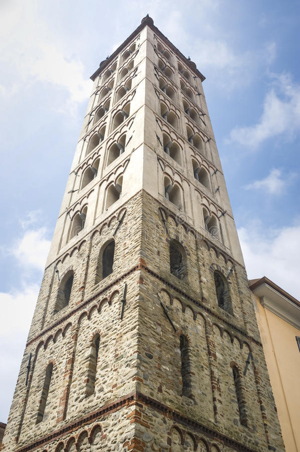 Biella - Belfry. Biella (Piedmont, Italy) - Belfry viewed from below stock photo