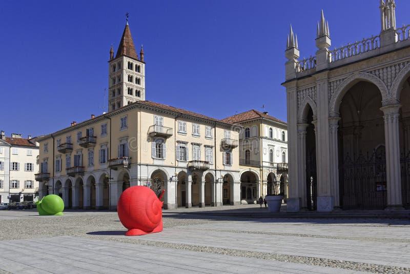 Biella, the cathedral square stock photos