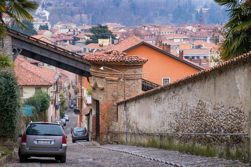 Biella, Piedmont - Italy. Biella, the higher part of town, the Piazzo with the medieval streets royalty free stock photo