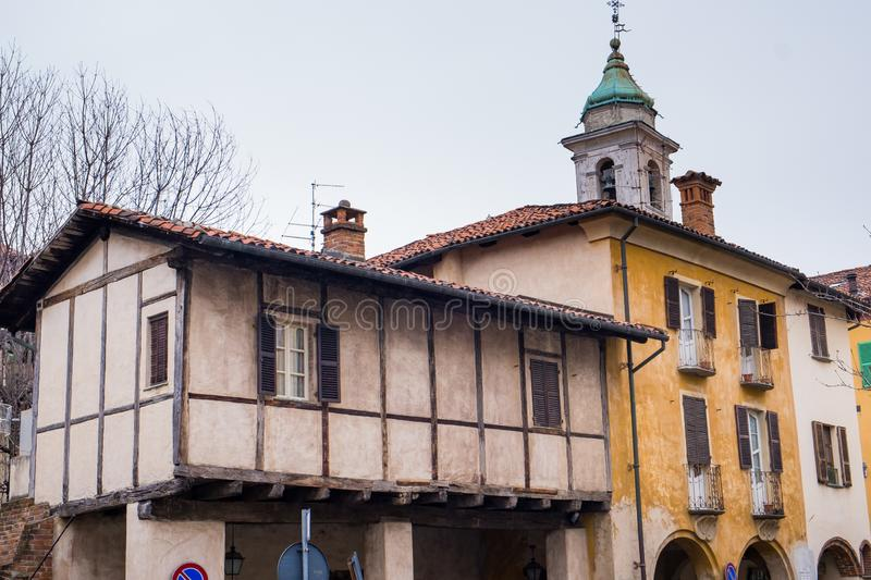 Biella, Piedmont - Italy. Biella, the higher part of town, the Piazzo with the medieval streets stock photo