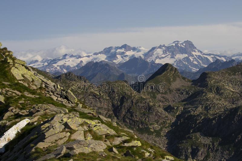 Biella mountain`s peaks. Mountain`s peaks in a warm summer day, Biella, Italy stock images
