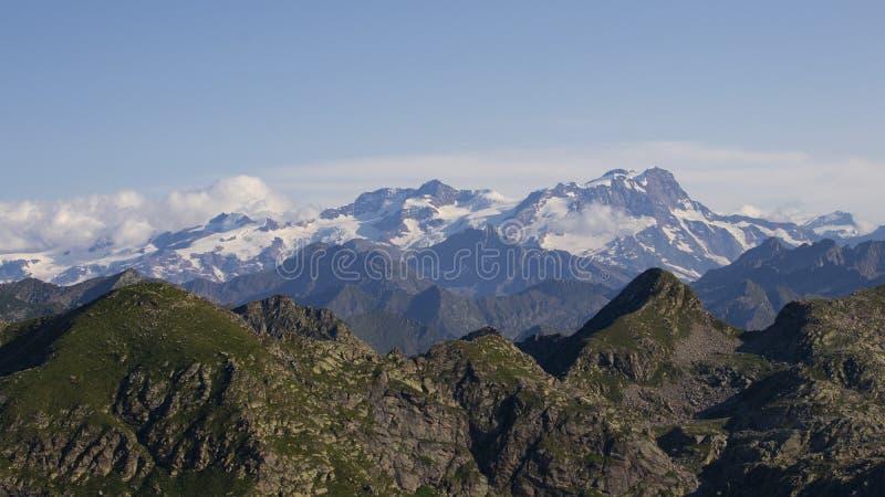 Biella mountain`s peaks. Mountain`s peaks in a warm summer day, Biella, Italy stock photos