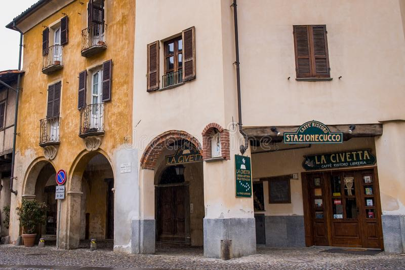 Biella, Piedmont - Italy. CANDELO, BIELLA - MARCH 02, 2015: the higher part of town, the Piazzo with the medieval streets royalty free stock photos
