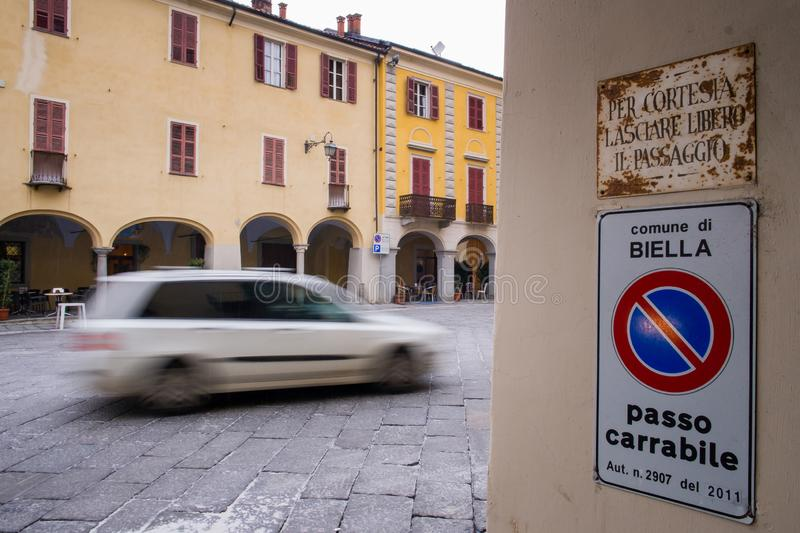 Biella, Piedmont - Italy. Biella, the higher part of town, the Piazzo with the medieval streets royalty free stock images
