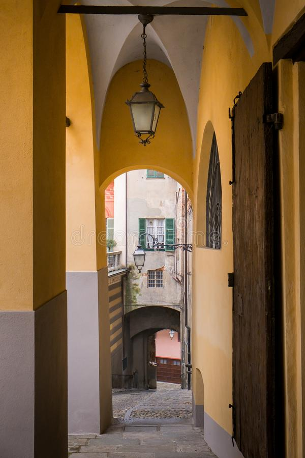 Biella, Piedmont - Italy. Biella, the higher part of town, the Piazzo with the medieval streets stock images