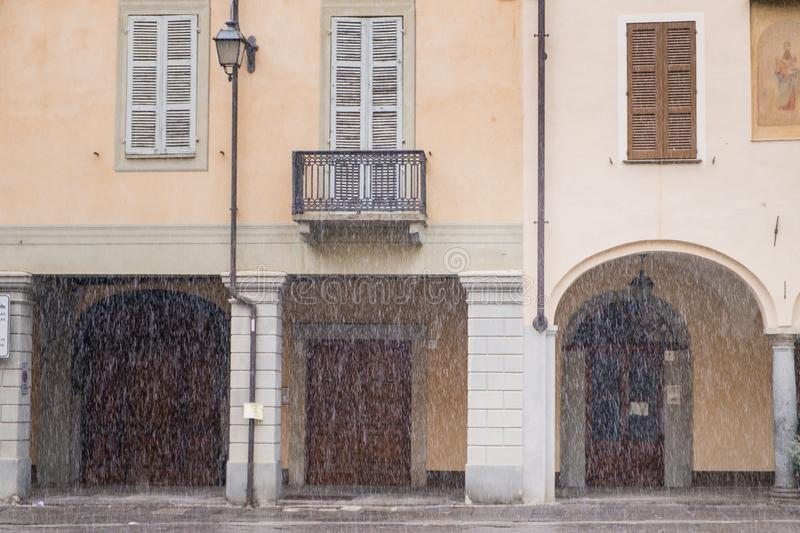 Biella, Piedmont - Italy. Biella, the higher part of town during the snowfall, the Piazzo with the medieval streets stock photo