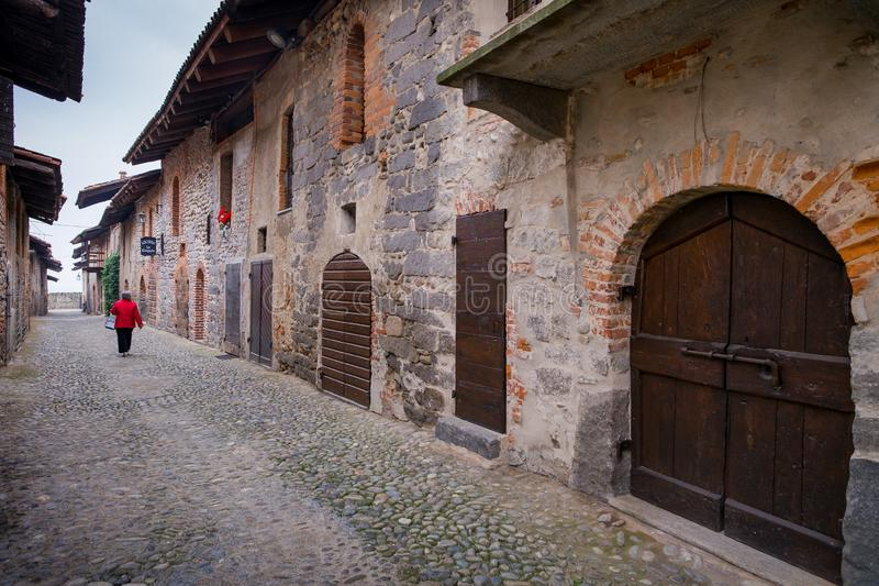 Biella, Piedmont - Italy. Medieval streets of the ancient village in Ricetto of Candelo, Biella province, Piedmont, Italy stock photography