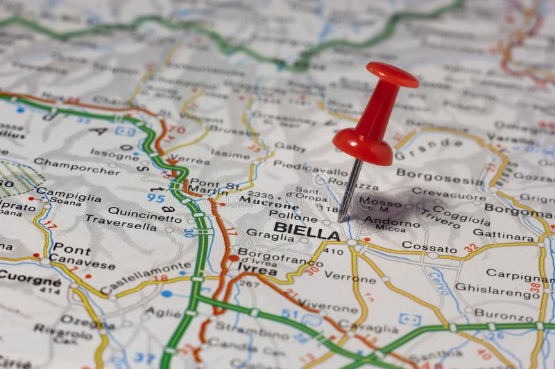 Biella pinned on a map of Italy. Road map of the city of Biella Italy stock photo