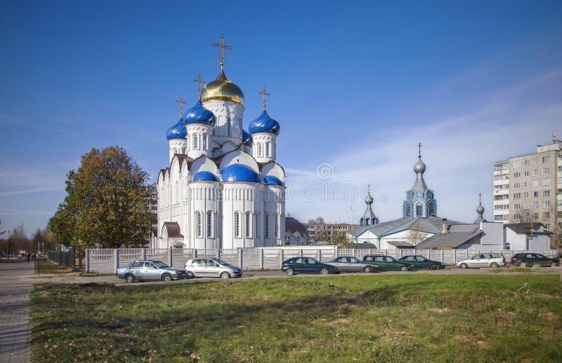 Bielorrusso, Molodechno: igreja ortodoxa da suposição (Uspenskaya) fotografia de stock royalty free