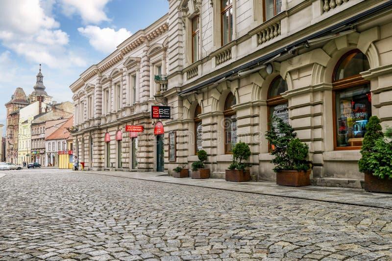 BIELSKO BIALA, POLAND - APRIL 16,2016: Cobbled streets. Cobbled streets of Bielsko Biala, Poland stock image