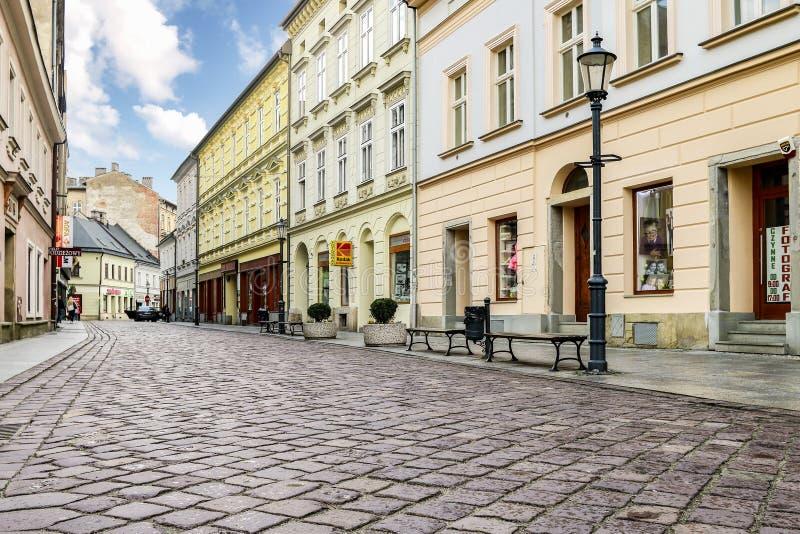 BIELSKO BIALA, POLAND - APRIL 16,2016: Cobbled streets. Cobbled streets of Bielsko Biala, Poland stock photo