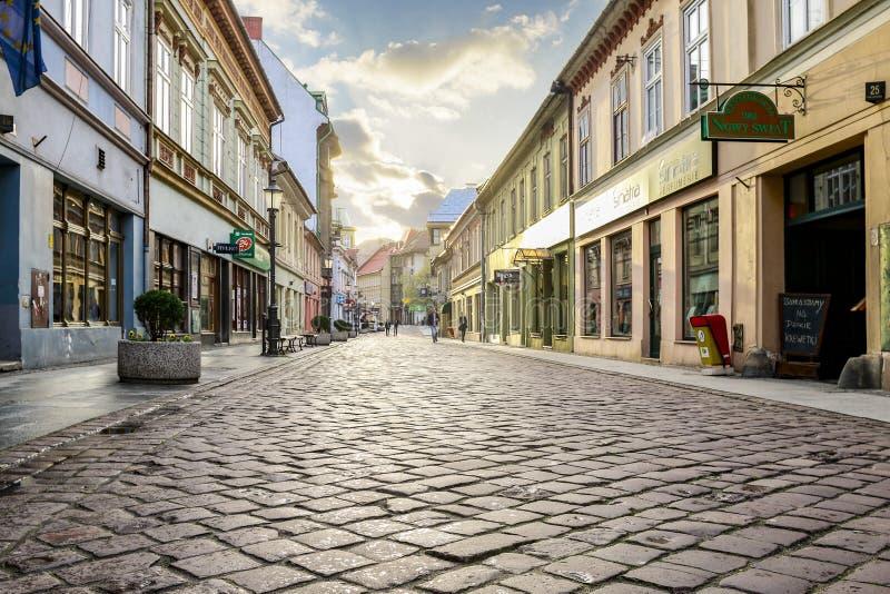 BIELSKO BIALA, POLAND - APRIL 16,2016: Cobbled streets. Cobbled streets of Bielsko Biala, Poland royalty free stock image