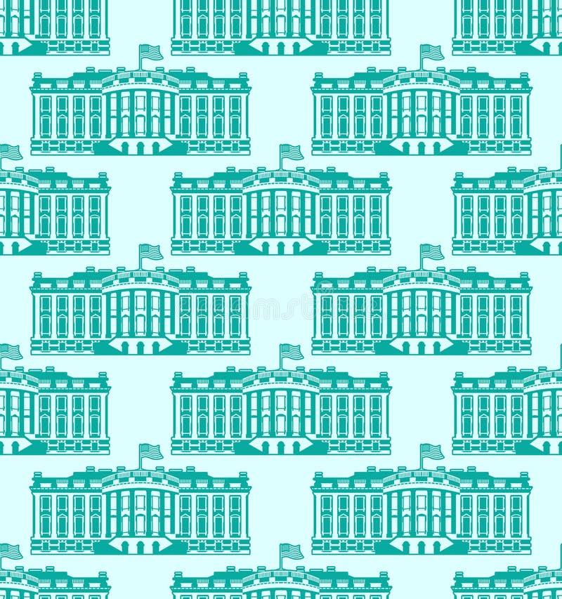 Bielu Ameryka Domowy bezszwowy wzór USA prezydent siedziba Iść royalty ilustracja