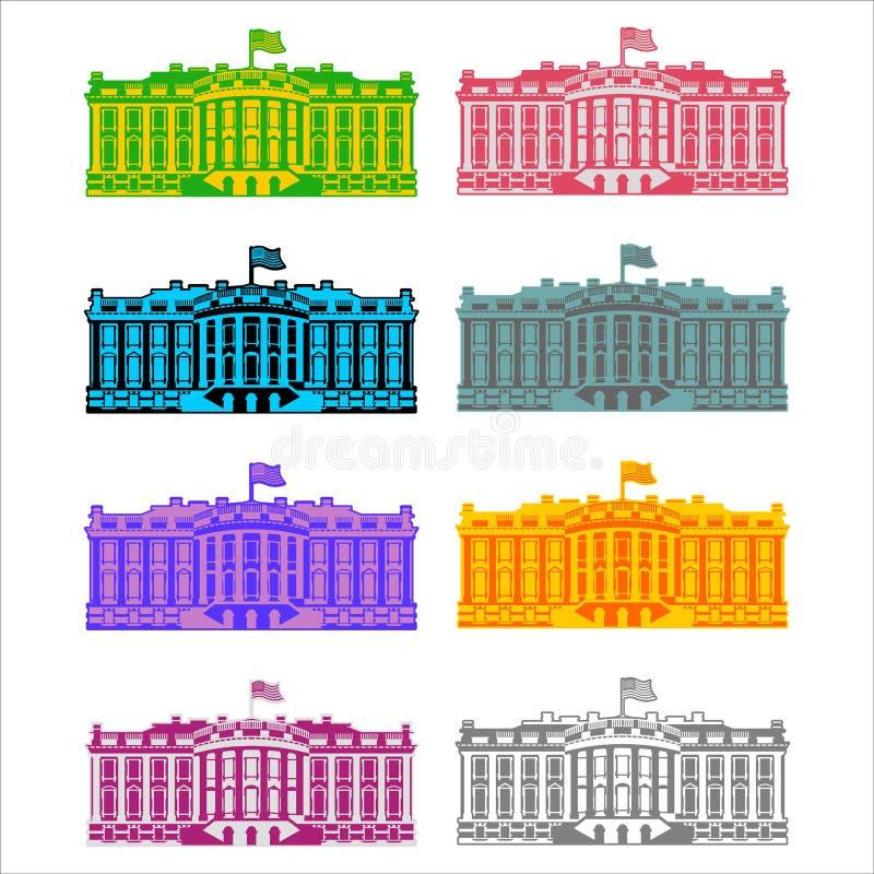 Bielu Ameryka ikony Domowy barwiony set Siedziba prezydent USA ilustracji