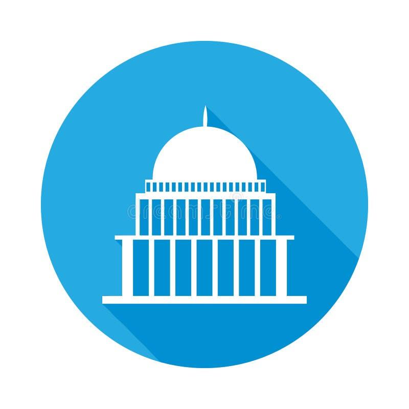 bielu dom, kongres capitoly buduje płaską ikonę z długim cieniem ilustracja wektor