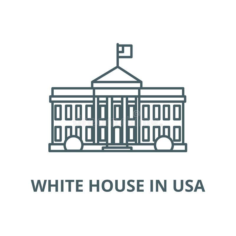 Bielu dom w usa wektoru linii ikonie, liniowy pojęcie, konturu znak, symbol ilustracji