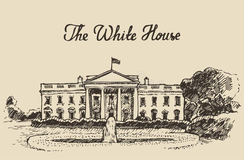 Bielu dom w washington dc ręka rysującym nakreśleniu ilustracji