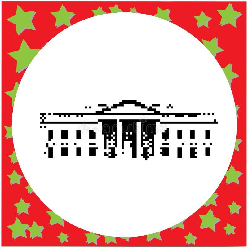 Bielu dom w washington dc Stany Zjednoczone czerni 8 kawałka wektorze ilustracji