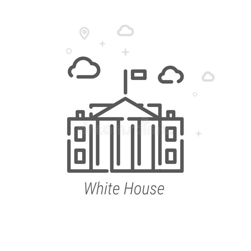 Bielu dom, washington dc wektoru linii ikona, symbol, piktogram, znak tło geometrycznego abstrakcyjne Editable uderzenie ilustracji
