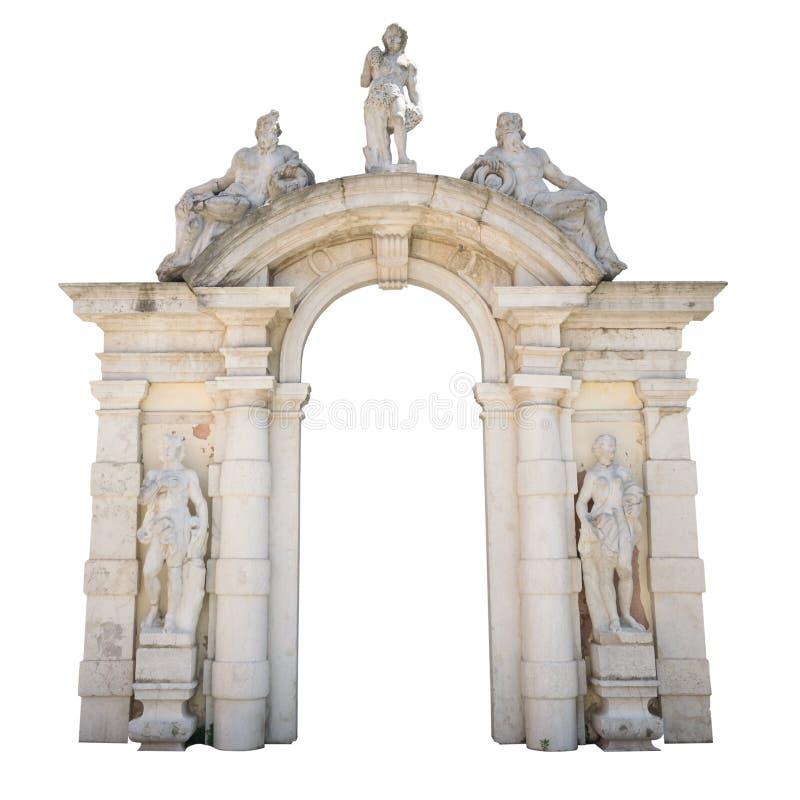 Bielu kamienny wejście z statuami stosownymi jako granica lub rama obraz stock