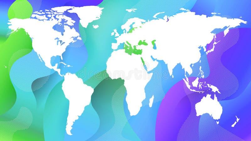 Bielu kontur planety mapa na błękicie i zieleni royalty ilustracja