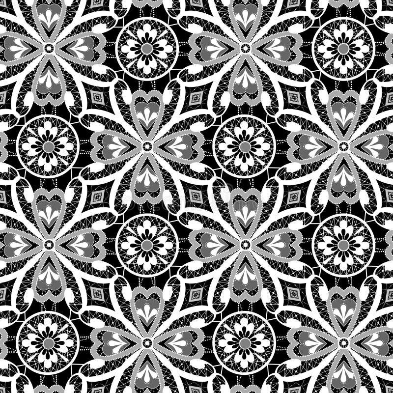 Bielu koronkowy kwiecisty bezszwowy wzór na czerni ilustracji