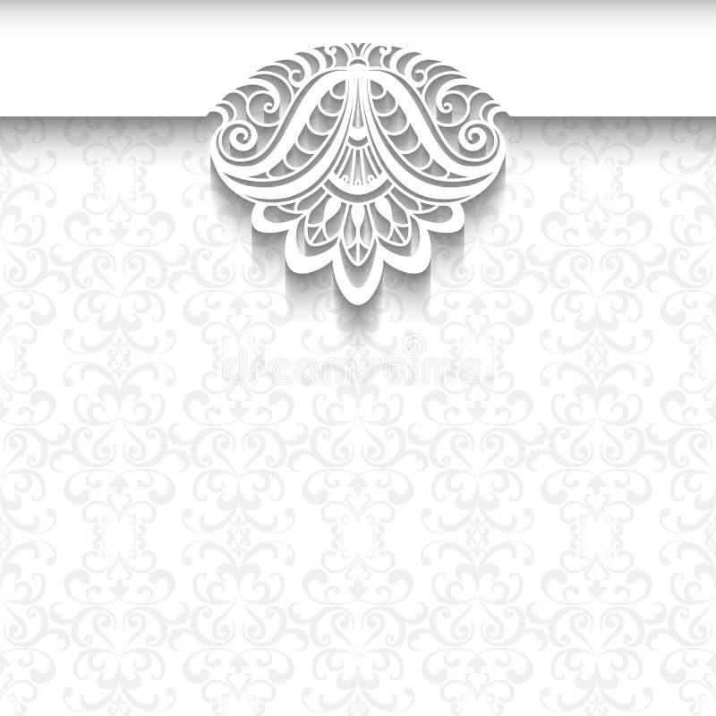 Bielu koronkowy tło, ślubny zaproszenie szablon royalty ilustracja