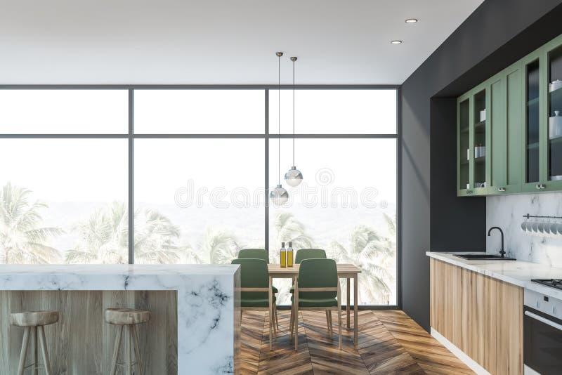 Bielu marmur, zieleni kuchnia, bar i stół, ilustracja wektor