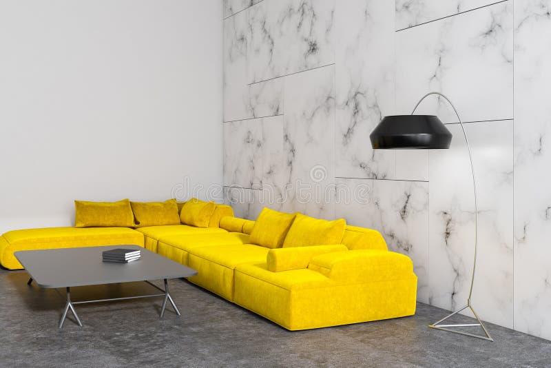 Bielu marmurowy żywy pokój, żółta kanapa ilustracji