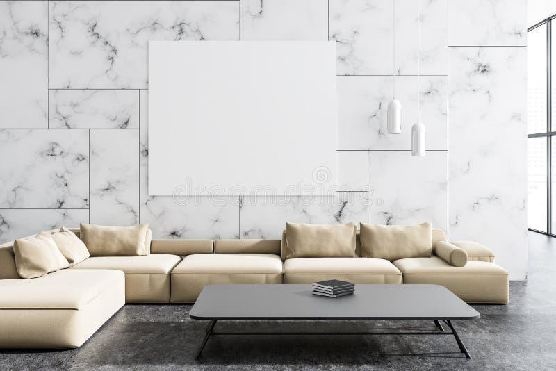 Bielu marmurowy żywy pokój, beżowa kanapa, plakat royalty ilustracja
