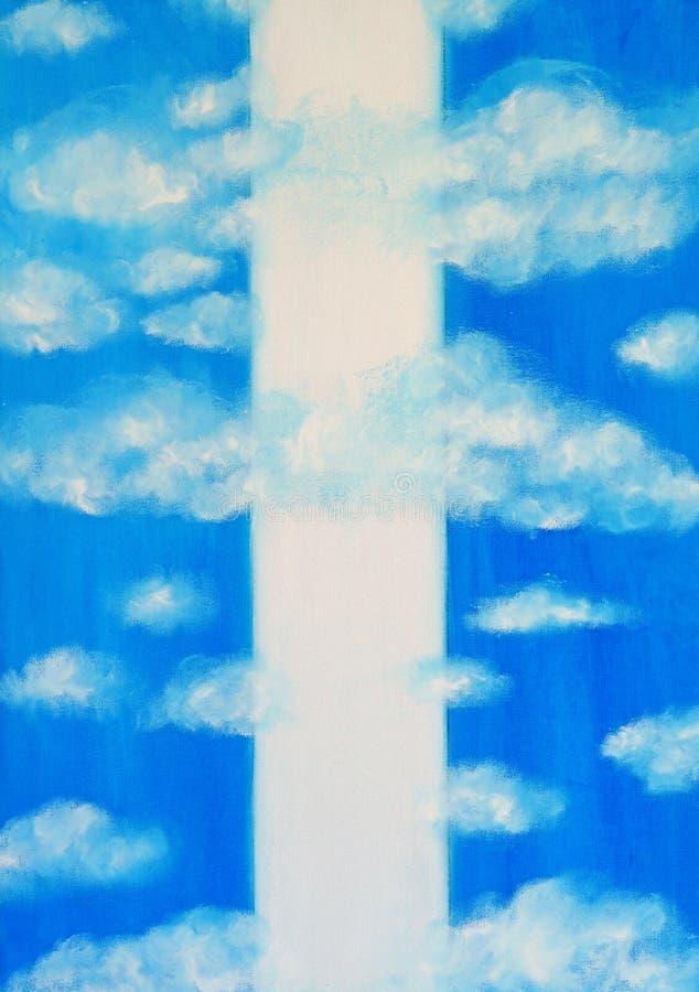 Bielu niebieskie niebo z białymi pionowo lampasami i chmury obraz stock