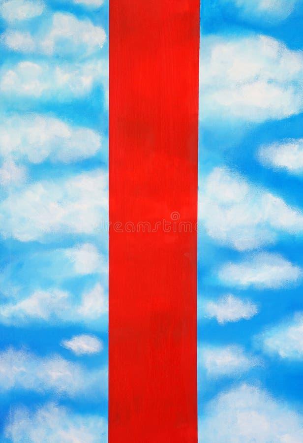 Bielu niebieskie niebo z czerwonymi pionowo lampasami i chmury obraz stock