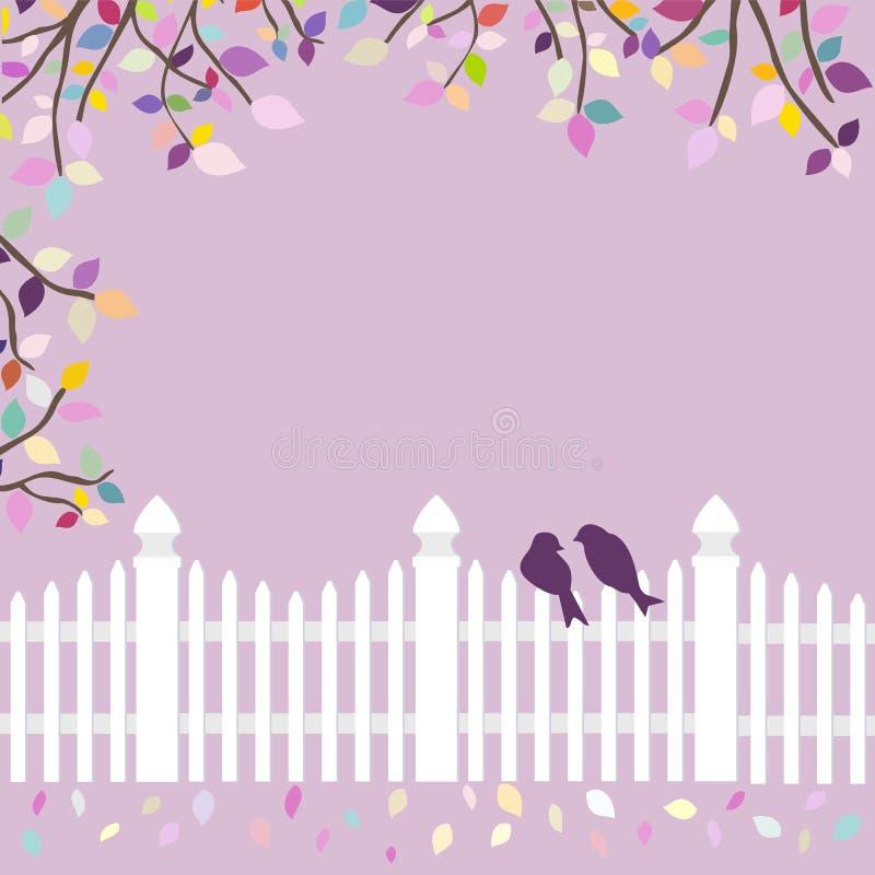 Bielu ogrodzenie z ptakami i gałąź royalty ilustracja