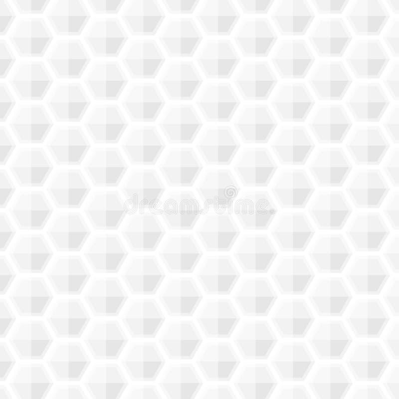 Bielu popielatego geometrycznego honeycomb tekstury światła nowożytnego, miękkiego bielu sześciokąta papieru sztuki popiela royalty ilustracja