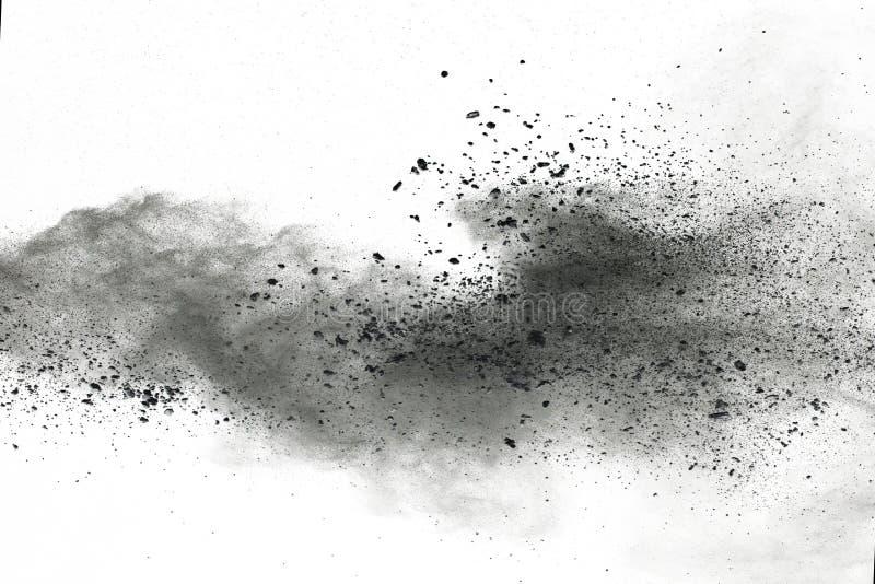 Bielu prochowy wybuch na białym backgroundabstract proszku splatted na białym tle fotografia stock