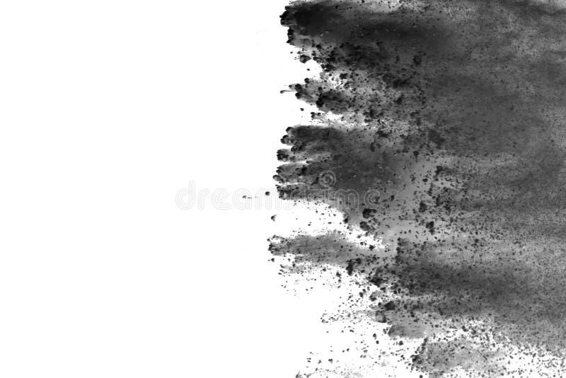 Bielu prochowy wybuch na białym backgroundabstract proszku splatted na białym tle obrazy stock