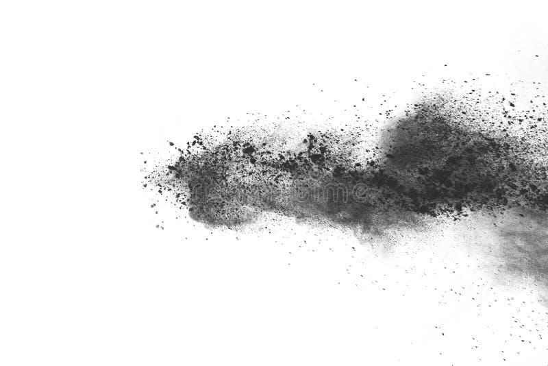 Bielu prochowy wybuch na białym backgroundabstract proszku splatted na białym tle zdjęcie stock