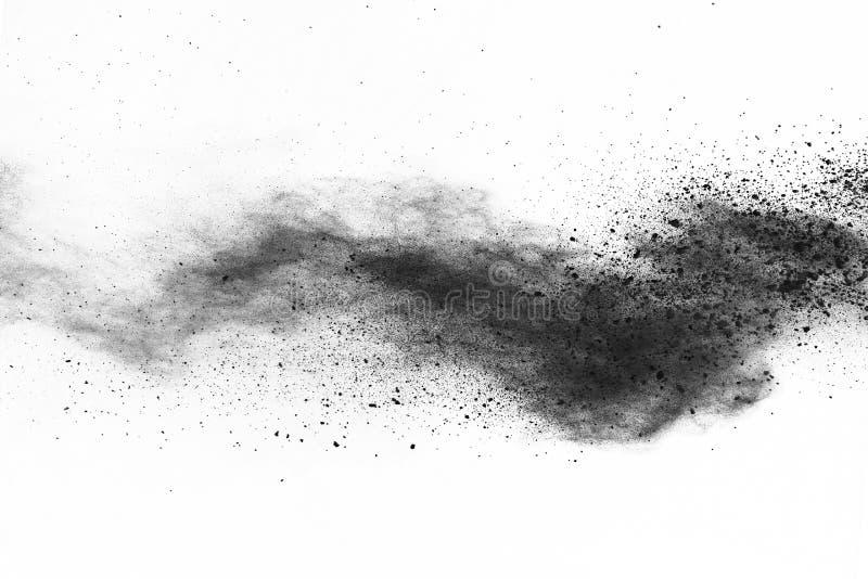 Bielu prochowy wybuch na białym backgroundabstract proszku splatted na białym tle zdjęcia stock