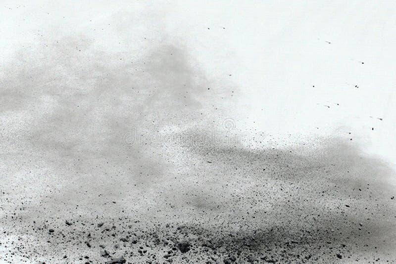 Bielu prochowy wybuch na białym backgroundabstract proszku splatted na białym tle obrazy royalty free