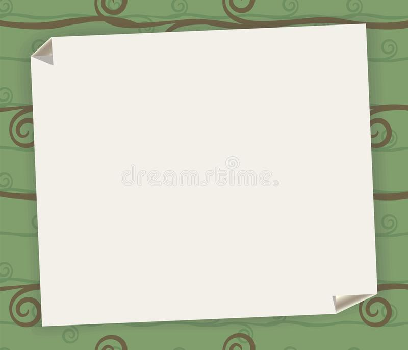 Bielu prześcieradło z zawijającym kątem na tle zieleń deseniujący tablecloth dla notatki z cienia wektoru illustra lub przepisu ilustracji