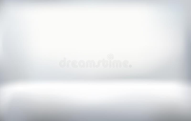 Bielu pusty studio, pokój z światłem od wierzchołka, gradientowy tło ilustracji
