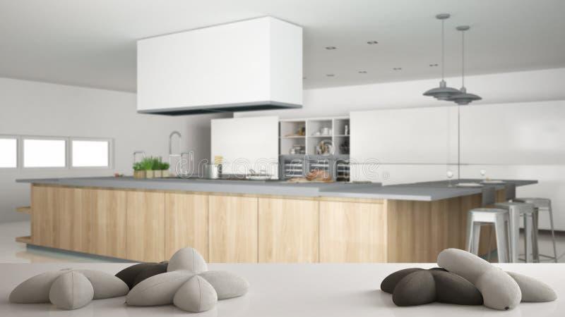 Bielu stół, biurko lub półka z pięć miękkimi białymi poduszkami w formie, gwiazd lub kwiatów, nad zamazaną fachową kuchnią ilustracja wektor