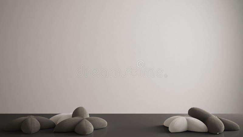 Bielu stół, biurko, półka z pięć miękkimi szarość lub czerni poduszki w formie gwiazd, pusty tło z kopii przestrzenią, wnętrze ilustracji