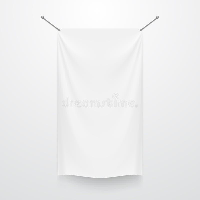 Bielu sztandaru Jasny Tekstylny szablon Na bielu royalty ilustracja