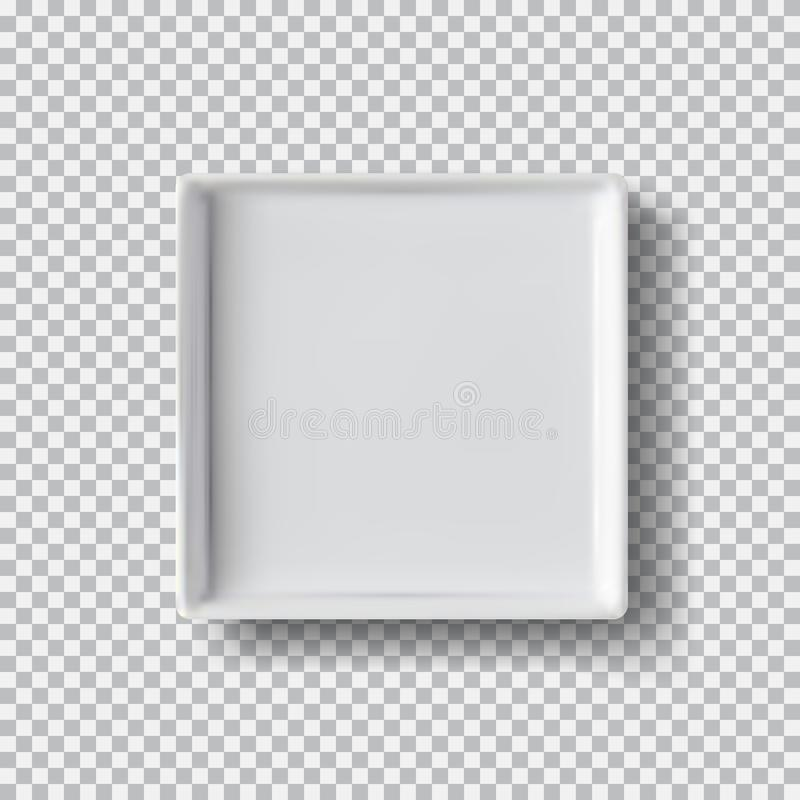 Bielu talerz na przejrzystym tle Białego pudełka egzaminu próbnego modela 3D up odgórny widok z cieniem ilustracji