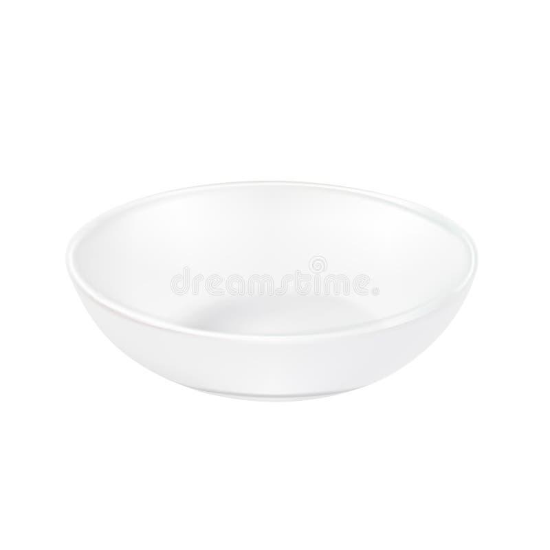 Bielu talerz, spodeczek dla jedzenia na białym tle wektor ilustracja wektor